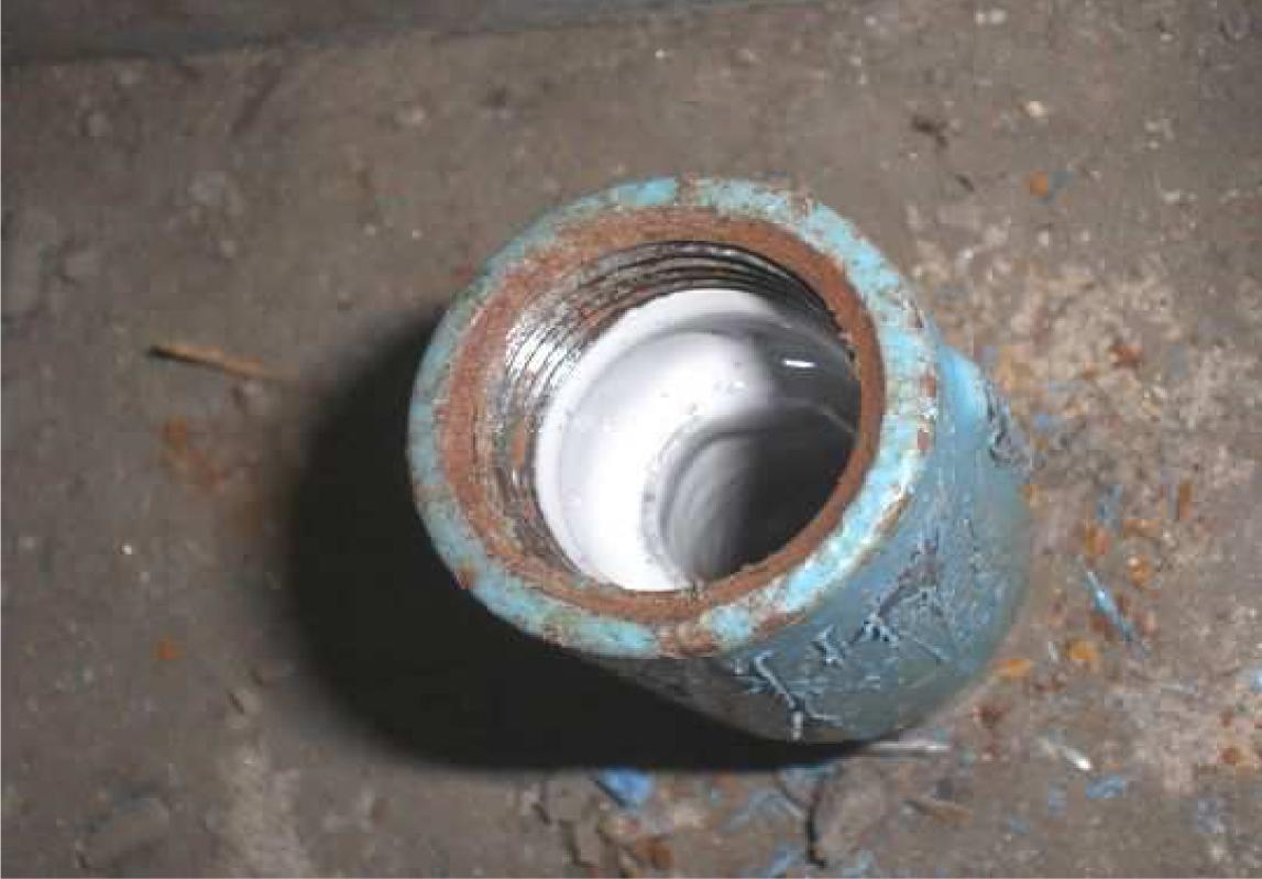 配管内部、下塗り後の状況